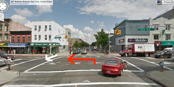 Senior Margarita Seda was killed in the middle of the day by a driver making a left turn at at a signalized intersection with marked crosswalks. He was cited for careless driving and failure to yield. Image: Google Maps