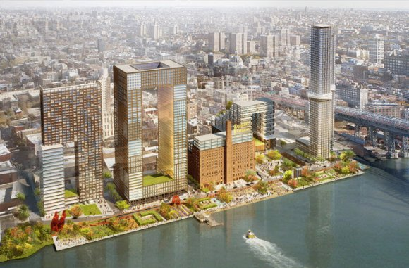 A rendering of the Domino Sugar Factory plan from Two Trees Management. Image: SHoP Architects