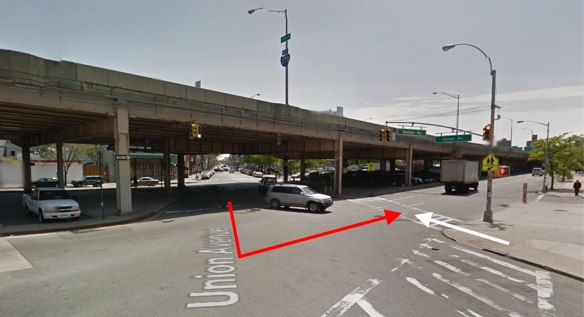 Marisol Martinez was struck by an MTA bus driver as she crossed Union Avenue at Meeker Avenue in Brooklyn. The red arrow represents the movement of the driver and the white arrow the movement of the victim, according to reports and photos from the scene. Image: Google Maps