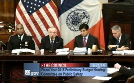 NYPD Commissioner Bill Bratton and other department brass testify before the City Council on March 21.