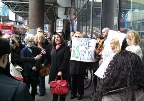 TSTC's Veronica Vanterpool, center, and CB 4 chair Christine Berthet, to her right, outside the Port Authority Bus Terminal today. Photo: Madeline Marvar/TSTC