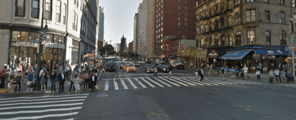 Sixth Avenue at 14th Street, which is part of an area DOT will be studying for pedestrian and bicycle upgrades. Photo: Google Maps