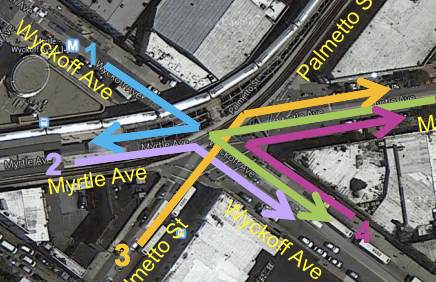 These five turns would be banned during rush hours at the complex intersection of Myrtle and Wyckoff Avenues. Image: DOT
