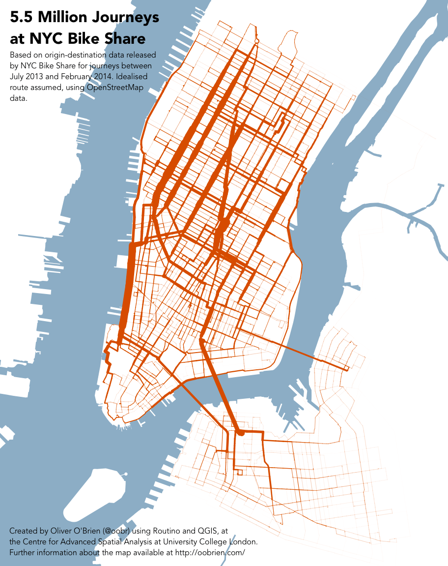 A new map shows likely routes taken by Citi Bike riders. Map: Oliver O'Brien