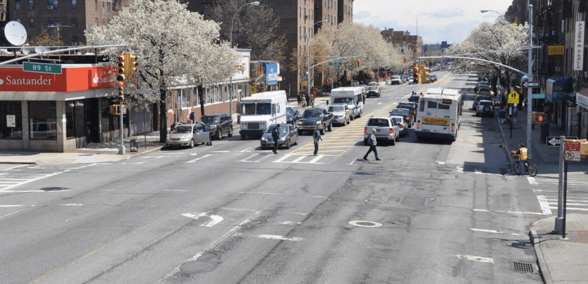 DOT is proposing nine new pedestrian islands on Northern Boulevard in Jackson Heights, including a few with left-turn bans. Photo: DOT