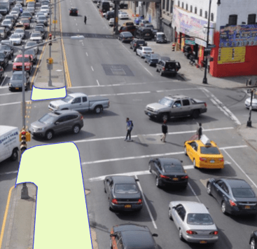 CB 8 is on track to support concrete pedestrian islands on Atlantic Avenue as part of the plan. Image: DOT