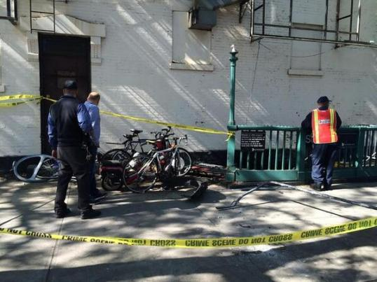 A driver jumped a curb on Bergen Street at 6th Avenue in Brooklyn, knocking over bike racks and damaging a subway entrance. Photo: ##https://twitter.com/BrooklynSpoke/status/468401748273807360/photo/1##@BrooklynSpoke