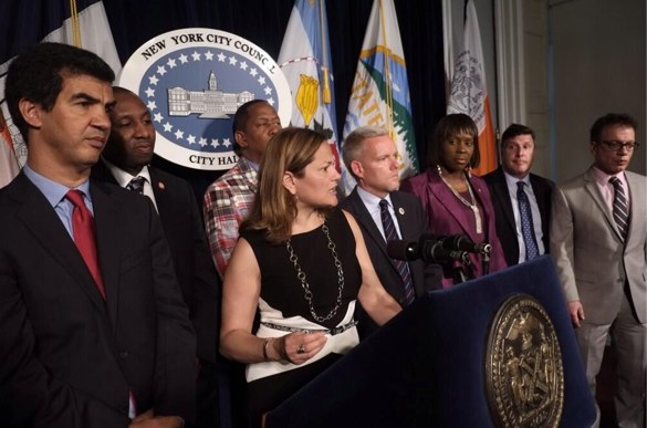 Council Speaker Melissa Mark-Viverito and other reps before today's meeting. Photo: ##https://twitter.com/willalatriste/status/472067061028777984##@willalatriste##