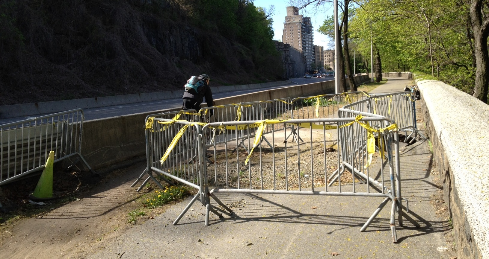 Hudson River Greenway users north of 181st Street can get by on the grass shoulder, but the sinkhole is expanding.