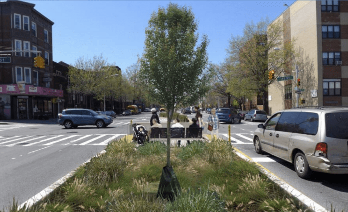 Concrete pedestrian islands on Fourth Avenue in Sunset Park just received millions in state funding, but advocates question if too many other projects are missing out. Image: NYC DOT