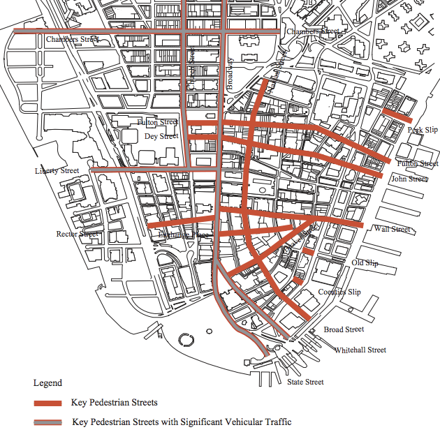 Long studied, little implemented: This 1997 Department of City Planning map identified streets ripe for pedestrianization or plazas. Adding shared streets to the mix could open up more possibilities. Image: DCP