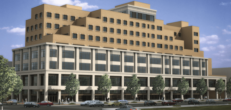 A nine-story development features two stories of underground parking, but that's not enough for David Greenfield and Community Board 12. Photo via CPEX Retail Leasing [PDF]