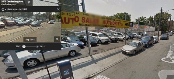 Per ##https://twitter.com/urbanresidue/status/486653899160293376##@urbanresidue##, NYPD says no action is necessary on Cambreleng Avenue in the Bronx, where car dealers have commandeered the sidewalk for years. Image: Google Maps