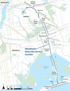 The Woodhaven/Cross Bay project could transform about 14 miles of a major bus corridor in Queens. Map: DOT/MTA