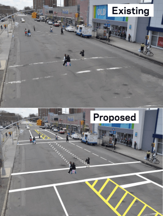 It's a start: A road diet would refresh painted markings and drop much of White Plains Road, shown here between Story and Lafayette Avenues, from four lanes to three. Image: DOT