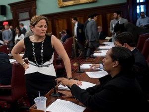 """""""How'm I doin'?"""" A new report card from Transportation Alternatives shows which council members are leading on street safety. Photo: William Alatriste/NYC Council"""