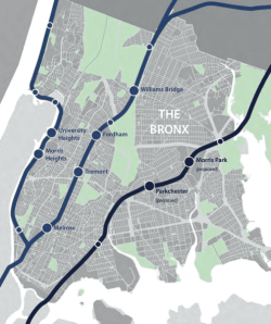 The study examined the development opportunities and street safety needs aroudn eight existing and proposed Metro-North stations. Image: DCP