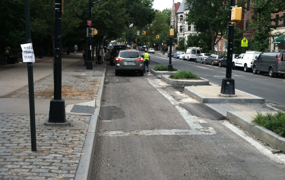 During repaving, the Prospect Park West bike lane has been removed and replaced with parking. Photo: @NoBikeLane/Twitter
