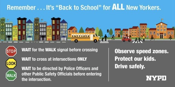 The messages for kids are a bit less complex, focusing on obeying traffic signals and crossing at the intersections. Image: NYPD