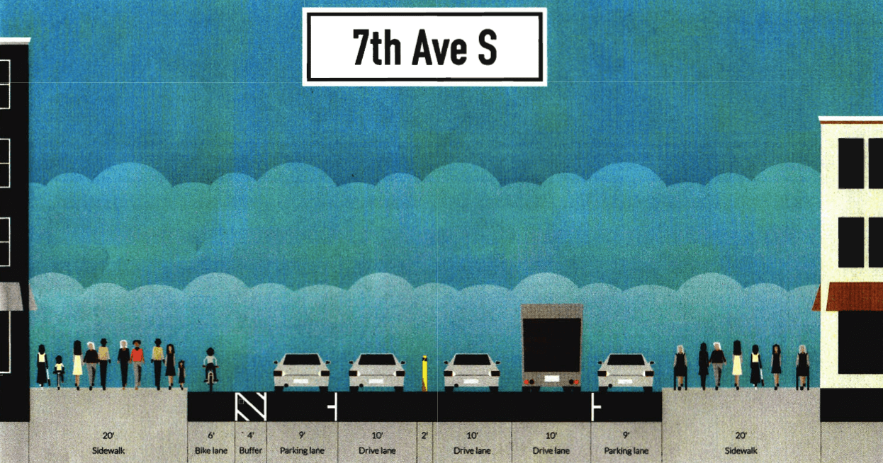 What began as a push to extend a neighborhood slow zone has grown into a complete streets request for Seventh Avenue. Image: PS 41 Parents