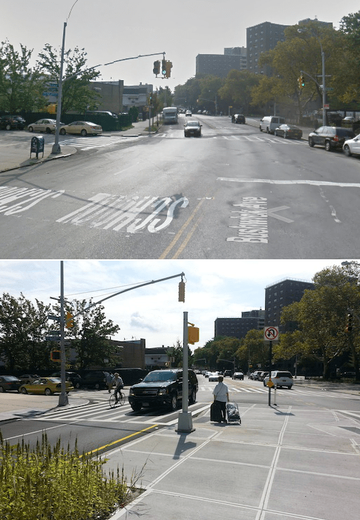 Bushwick Avenue used to widen at Seigel Street, making it difficult to cross. Now, there is a super-sized pedestrian island giving safer passage between a school and a library. Photos: Google Maps (above), Stephen Miller (below)