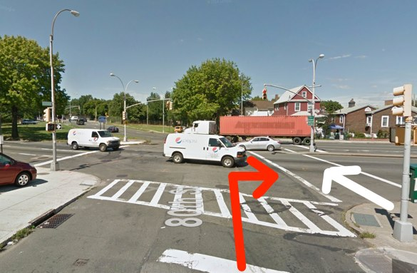 Melania Ward was struck by an MTA bus driver as she crossed Astoria Boulevard in Elmhurst. The red arrow represents the movement of the driver and the white arrow the movement of the victim, according to NYPD. Image: Google Maps
