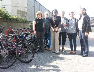 Staff from the Roosevelt Island Operating Corporation and Bike New York tour the island yesterday. Photo: Stephen Miller