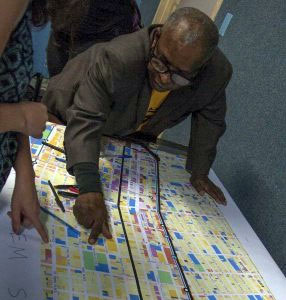 Residents point out dangerous locations on Atlantic Avenue at a meeting hosted by Transportation Alternatives on Saturday. Photo: Mia Moffett