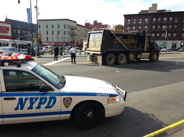 "A dump truck driver fatally struck Winnifred Matthias, 77, at the intersection of Flatbush and Atlantic Avenues. NYPD said Matthias was walking ""outside the crosswalk."" No charges were filed. Photo: Ian Dutton"