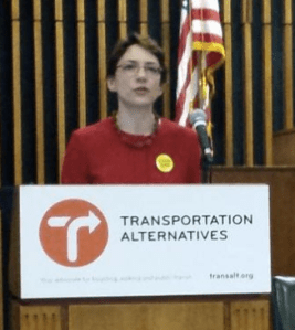 DOT Commissioner Polly Trottenberg gives the keynote at today's Vision Zero Symposium. Photo: NYC DOT/Twitter