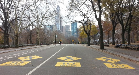 New markings indicate lower speed limits in advance of pedestrian crossings. Photo: Stephen Miller