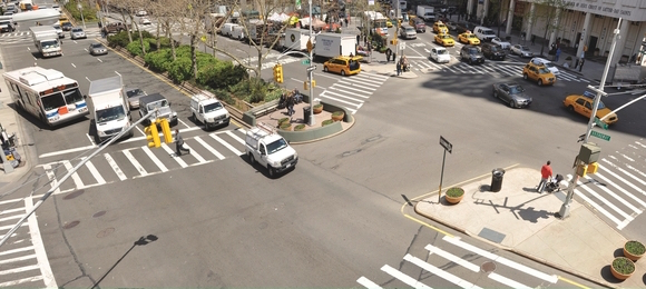 Lincoln Square is a dangerous spot for pedestrians. Will opposition from a local BID stop safety fixes in their tracks? Photo: DOT