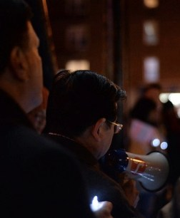 Council Member Peter Koo speaks at last night's vigil, with Council Member Mark Weprin in the foreground. Photo: Anna Zivarts/Flickr