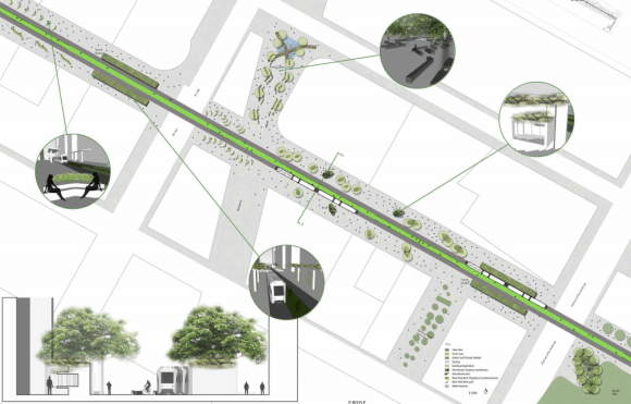 Another plan proposes a center-running bikeway along 42nd Street. Image via Vision42 [PDF]