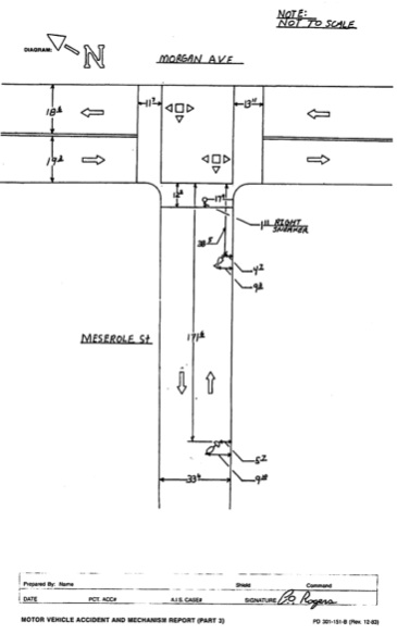 NYPD's crash scene diagram shows the distances Lefevre and his bicycle were dragged.
