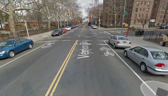 Hoyt Jacobs was killed by a truck driver making a right turn from Vernon Boulevard onto 41st Avenue. Image: Google Maps