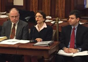 DOT Commissioner Polly Trottenberg testifies, flanked by Peter Cafiero of the MTA, left, and Eric Beaton of DOT, right. Photo: Brad Lander/Twitter