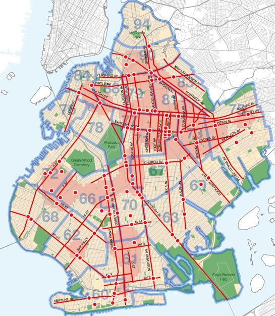 You can't walk far in Brooklyn without crossing a street that needs safety improvements. Map: DOT