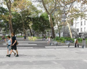A plaza rehab on the border of Soho and Hudson Square will not include upgrades to Little Sixth Avenue -- for now. Image: Mathews Nielsen landscape architects