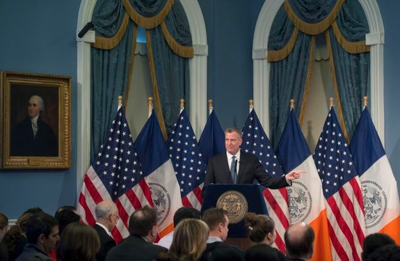 Mayor de Blasio at today's budget press conference. Photo: @NYCMayorsOffice