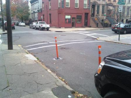 A flex-post protected corner in Hoboken. Photo: Planetizen