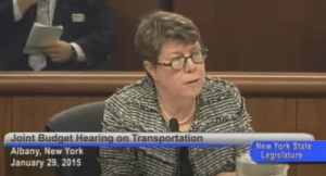 State DOT Commissioner Joan McDonald on bike-ped funding: Trust us. Image via YouTube