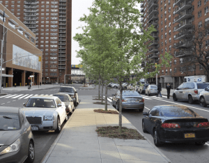 This design for a quiet stretch of Lenox Avenue, at 146th Street, is too much for auto-centric residents to bear. Rendering: DOT [PDF]