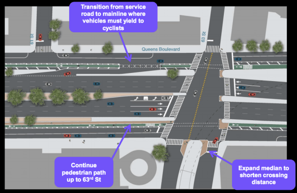 While slip lanes coming from the main line to the service road will have sharper angles and stop signs, drivers accelerating onto the center roadway will have shallower angles as they cross the paths of cyclists. Image: DOT [PDF]