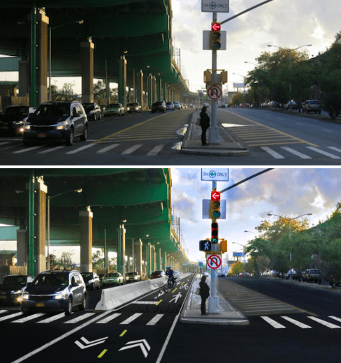 Unused road space on Bruckner Boulevard is being reclaimed for a protected bikeway that will eventually connect the Bronx River Greenway to Randall's Island. Images: DOT