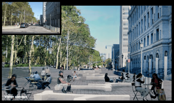 The plan recommends turning a quiet block of Cadman Plaza East into a pedestrian plaza. Image: WXY Architecture