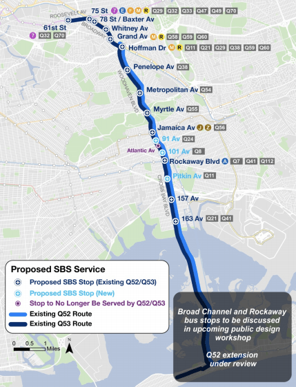 Select Bus Service would run on the Q52 and Q53 lines. Click to enlarge. Map: DOT/MTA [PDF].