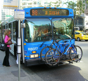 Bus racks on the front of a bus in downtown Vancouver, BC. Photo: Stephen Rees/Flickr