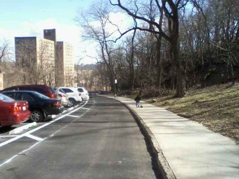 First markings for the new protected bike lane on Fort George Hill. Photo: Jonathan Rabinowitz