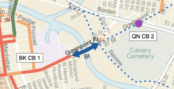 New bike lanes on the Greenpoint Avenue Bridge (solid blue arrows) have received support from two community boards. Tweaks to Greenpoint Avenue in Brooklyn are also moving ahead, but bike routes in Queens CB 2 are on hold as  Map: DOT